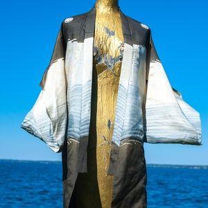 Vtg MIYAMAIRI Silk Kimono XXS Damaged Art Piece